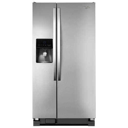 "Whirlpool 33"" 21.3 Cu. Ft. Side-by-Side Refrigerator (WRS342FIAM) - Stainless Steel"