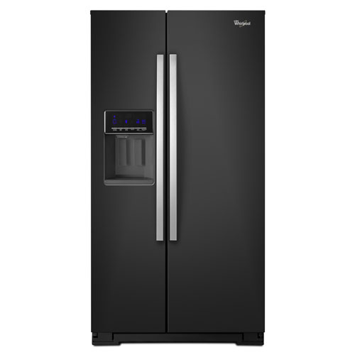 "Whirlpool 36"" 25.6 Cu. Ft. Side-by-Side Refrigerator with Ice & Water Dispenser - Black"