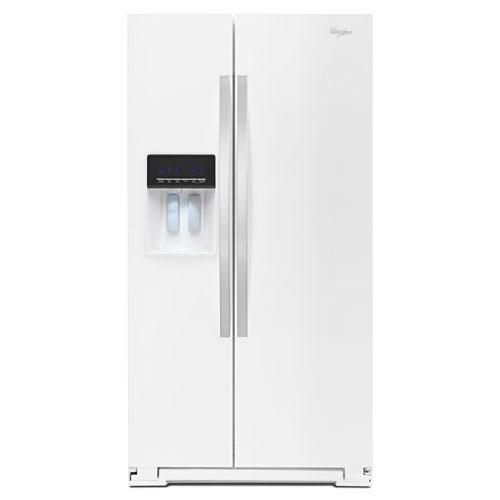 Réfrigérateur congélateur juxtaposé 36 po 25,6 pi3 et distributeur d'eau/de glaçons Whirlpool -Blanc