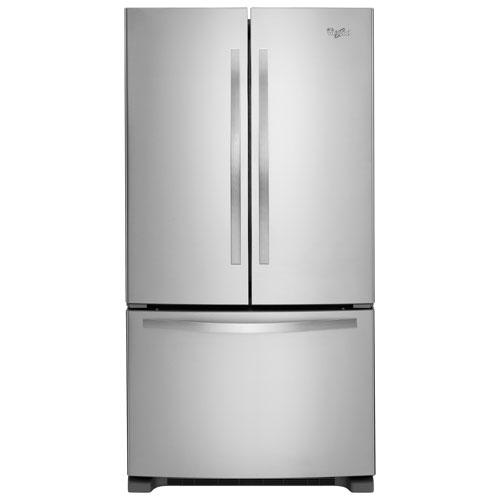 Réfrigérateur à deux portes avec éclairage DEL de 33 po et 22,1 pi3 de Whirlpool - Acier inoxydable