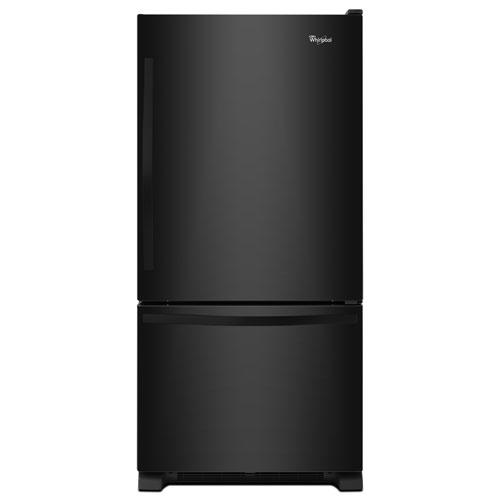 "Whirlpool 30"" 18.7 Cu. Ft. Bottom Freezer Refrigerator with LED Lighting - Black-on-Black"