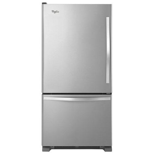 "Whirlpool 30"" 18.7 Cu. Ft. Bottom Freezer Refrigerator with LED Lighting - Stainless Steel"