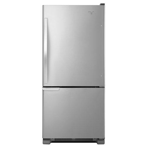 "Whirlpool 30"" 18.5 Cu. Ft. Bottom Freezer Refrigerator with LED Lighting - Stainless Steel"