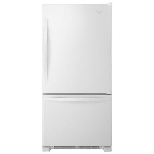 "Whirlpool 30"" 18.7 Cu. Ft. Bottom Freezer Refrigerator with LED Lighting - White-on-White"