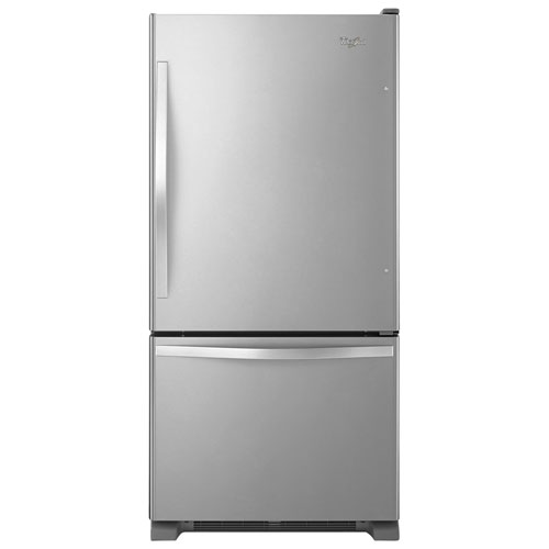 "Whirlpool 33"" 21.9 Cu. Ft. Bottom Freezer Refrigerator with LED Lighting - Stainless Steel"