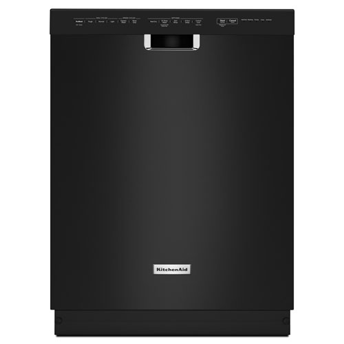 """Kitchenaid 24"""" 46 dB Built-In Dishwasher with Stainless Steel Tub (KDFE104DBL) - Black"""