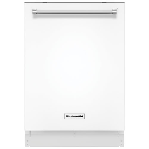 """KitchenAid 24"""" 46 dB Tall Tub Built-In Dishwasher with Stainless Steel Tub (KDTE204EWH) - White"""