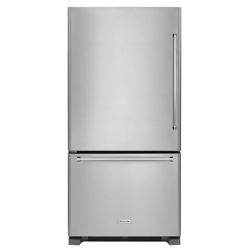"KitchenAid 30"" 18.7 Cu. Ft. Bottom Mount Refrigerator with LED Lighting (KRBL109ESS)-Stainless Steel"