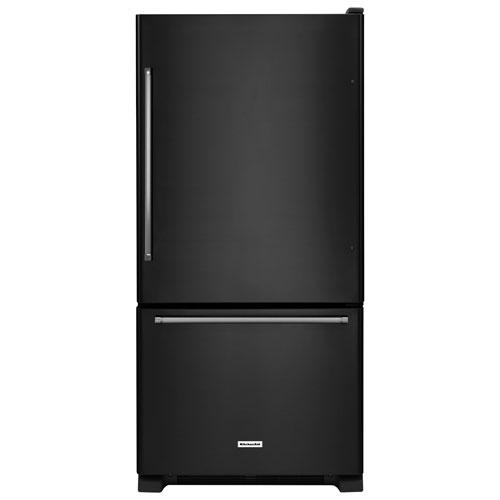 "KitchenAid 30"" 18.7 Cu. Ft. Bottom Freezer Refrigerator with LED Lighting - Black"