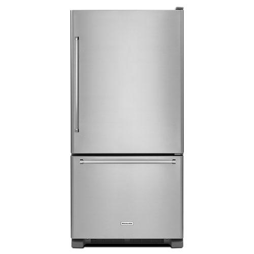 "KitchenAid 33"" 22.1 Cu. Ft. Bottom Mount Refrigerator with LED Lighting (KRBR102ESS)-Stainless Steel"