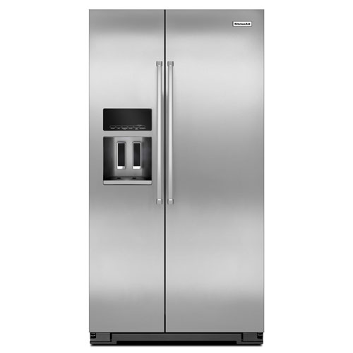 """KitchenAid 36"""" 19.9 Cu. Ft. Counter-Depth Side-by-Side Refrigerator - Stainless Steel"""