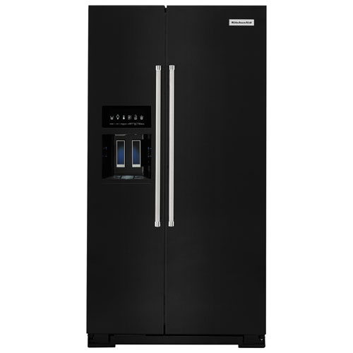 "KitchenAid 36"" 24.8 Cu. Ft. Side-by-Side Refrigerator with Ice & Water Dispenser - Black"