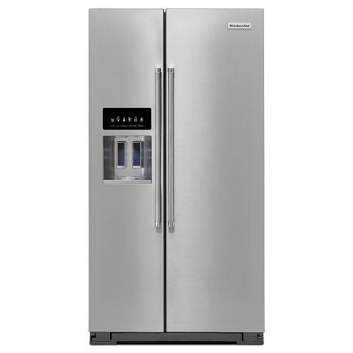 "KitchenAid 36"" 24.8 Cu. Ft. Side-by-Side Refrigerator with Ice & Water Dispenser - Stainless Steel"