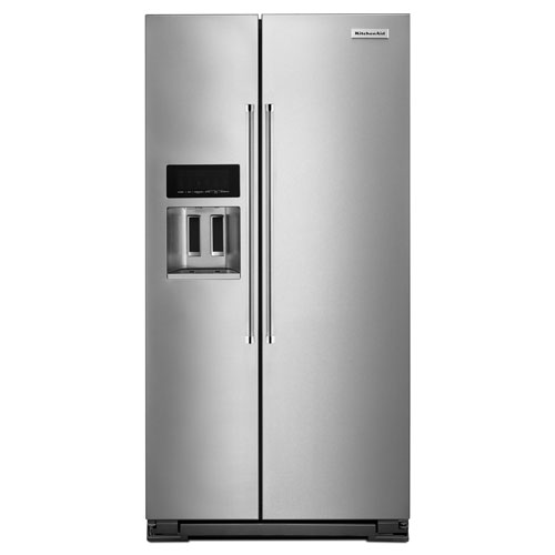 """KitchenAid 36"""" 22.6 Cu. Ft. Side-by-Side Refrigerator with Ice & Water Dispenser - Stainless Steel"""