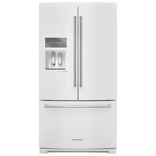 "KitchenAid 36"" 26.8 Cu. Ft. French Door Refrigerator with Ice & Water Dispenser - White"