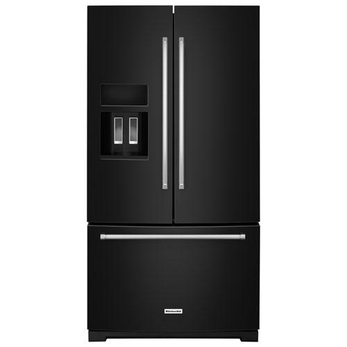 Réfrigérateur à 2 portes de 36 po et 26,8 pi3 avec distributeur d'eau/de glaçons de KitchenAid- Noir