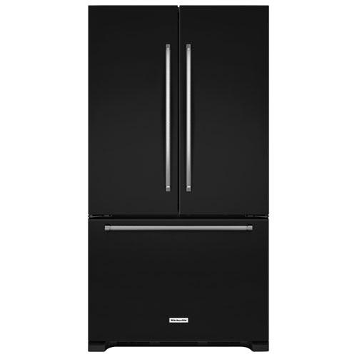 "KitchenAid 36"" 20 Cu. Ft. French Door Refrigerator Internal Ice & Water Dispenser - Black"
