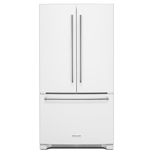 "KitchenAid 36"" 25.2 Cu. Ft. French Door Refrigerator with Internal Water Dispenser - White"