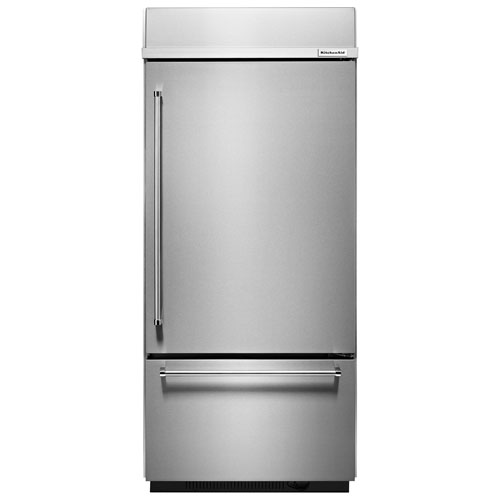"KitchenAid 36"" 20.9 Cu. Ft. Bottom Mount Refrigerator with LED Lighting - Stainless Steel"