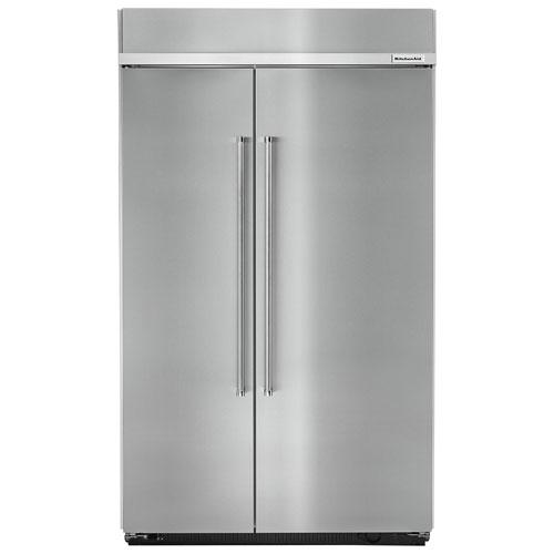 Réfrigérateur juxtaposé encastrable 30 pi³ 49 po avec éclairage DEL de KitchenAid-Inox