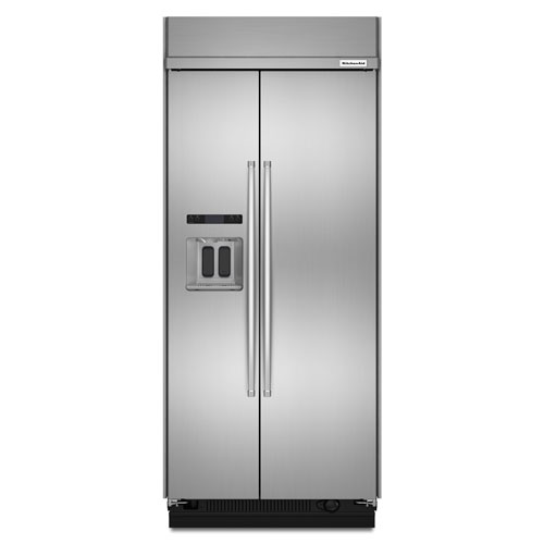 "KitchenAid 36"" 20.8 Cu. Ft. Built-In Side-by-Side Refrigerator w/ Ice & Water Dispenser-Stainless Steel"