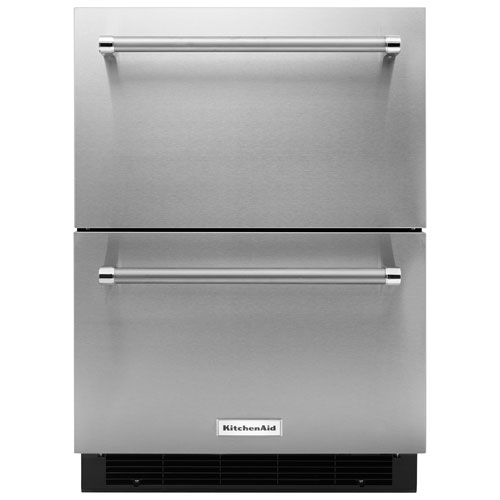 """KitchenAid 24"""" 4.7 Cu. Ft. Double Refrigerator Drawer - Stainless Steel"""