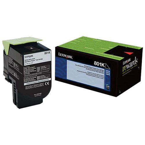 Cartouche d'encre en poudre recyclable noire 801K de Lexmark (80C10K0)