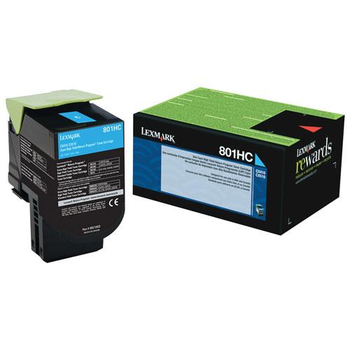 Cartouche d'encre en poudre recyclable à haut rendement cyan 801HC de Lexmark (80C1HC0)
