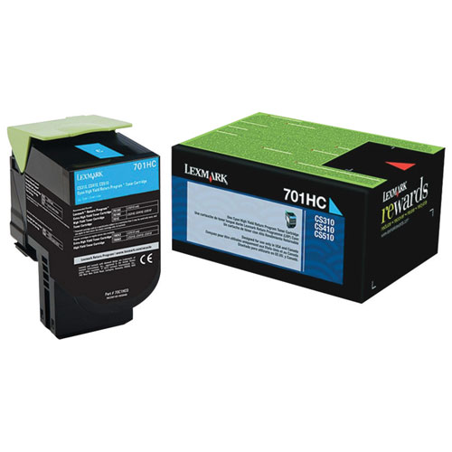 Lexmark 701HC Cyan High Yield Return Program Toner (70C1HC0)