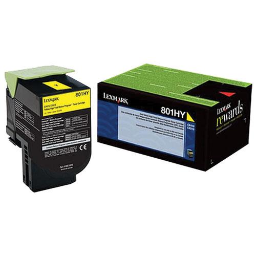 Lexmark 801HY Yellow High Yield Return Program Toner (80C1HY0)