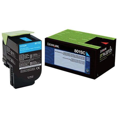 Lexmark 801SC Cyan Return Program Toner (80C1SC0)
