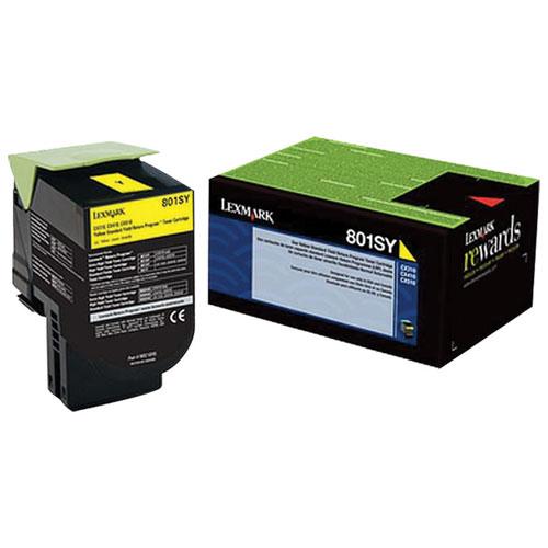 Lexmark 801SY Yellow Return Program Toner (80C1SY0)