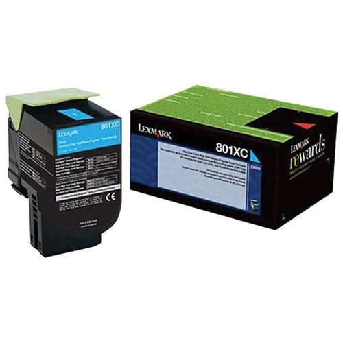 Cartouche d'encre en poudre cyan recyclable à haut rendement 801XC de Lexmark (80C1XC0)
