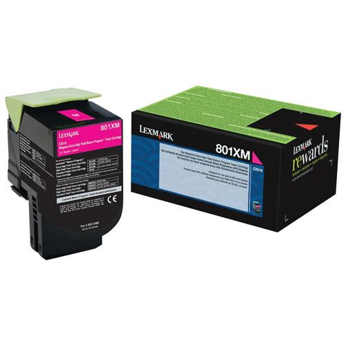 Cartouche d'encre en poudre recyclable à très haut rendement magenta 801XM de Lexmark (80C1XM0)