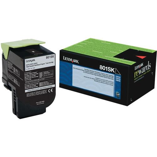 Cartouche d'encre en poudre recyclable noire 801SK de Lexmark (80C1SK0)