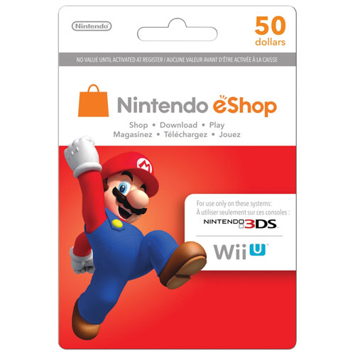 Carte-cadeau eShop de 50 $ pour 3DS/Wii U de Nintendo - En magasin uniquement