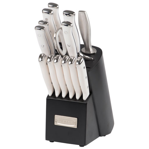 Cuisinart Elite Pro Forged Triple Rivet Stainless Steel Knife Set - White/Stainless Steel