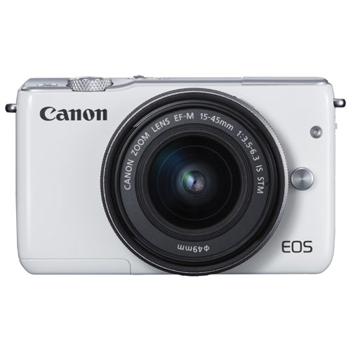 Canon EOS M10 Mirrorless Camera with 15-45mm IS STM Lens Kit - White