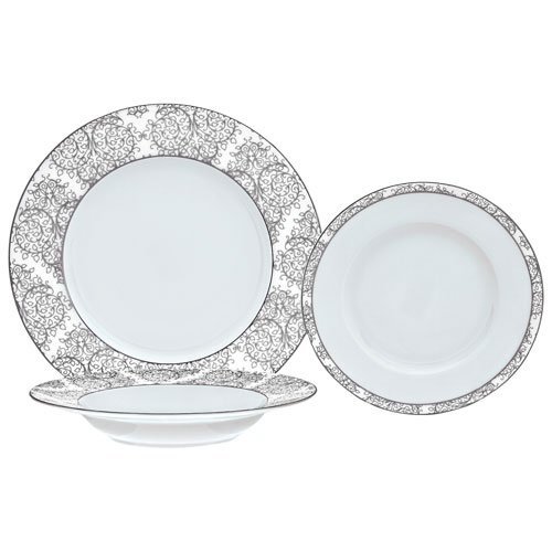 Brilliant Ritz 18-Piece Porcelain Dinnerware Set - Platine/White - Online Only  sc 1 st  Best Buy Canada & Brilliant Ritz 18-Piece Porcelain Dinnerware Set - Platine/White ...