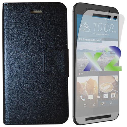 Étui folio portefeuille d'Exian pour One M9 de HTC - Noir