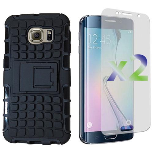 Étui rigide ajusté d'Exian pour Galaxy S6 Edge de Samsung - Noir