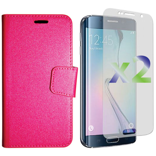 Exian Samsung Galaxy S6 Edge Wallet Folio Case - Hot Pink
