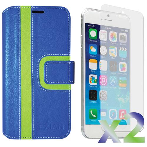 Exian iPhone 6 Plus/6s Plus Wallet Folio Case - Blue/Green