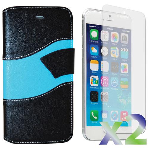 Étui portefeuille d'Exian pour iPhone 6 Plus/6s Plus - Noir/bleu