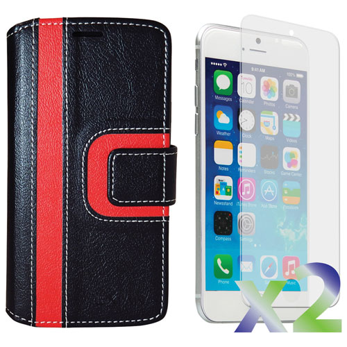 Exian iPhone 6/6s Wallet Folio Case - Black/Red