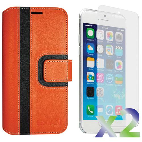 Étui portefeuille d'Exian pour iPhone 6/6s - Orange/noir