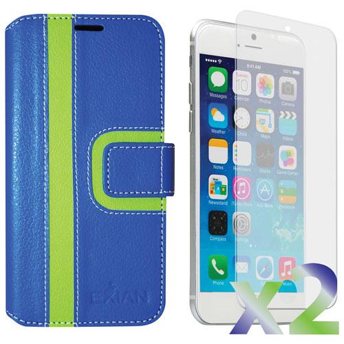Étui portefeuille d'Exian pour iPhone 6/6s - Bleu/vert