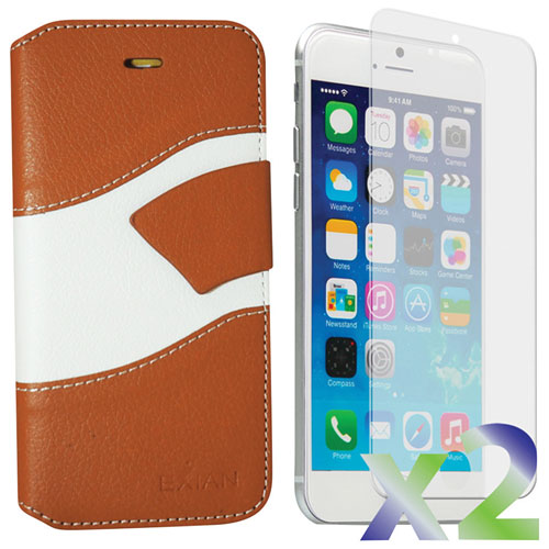 Exian iPhone 6/6s Wallet Folio Case - Beige/White