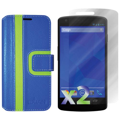 Étui portefeuille d'Exian pour Nexus 5 - Bleu/vert