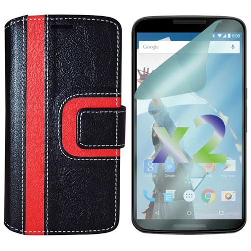 Étui portefeuille d'Exian pour Nexus 5 - Noir/rouge